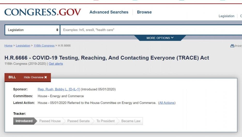 USA:n Kongressin Covid -testaus- ja jäljitysasetus HR6666